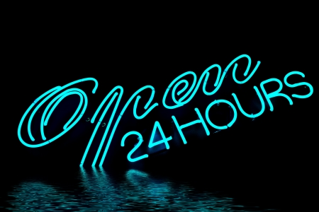 open bar restaurant neon sign Stock Photo