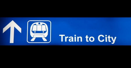 Train to city blue sign Stock Photo - 14717058