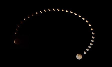 lunar eclipse: Composite picture of the total lunar eclipse of the 4 April 2015 taken from Cambodia