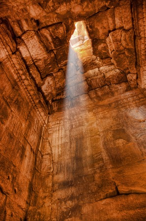bayon: Beam of light in the temple of Bayon in siem reap Cambodia