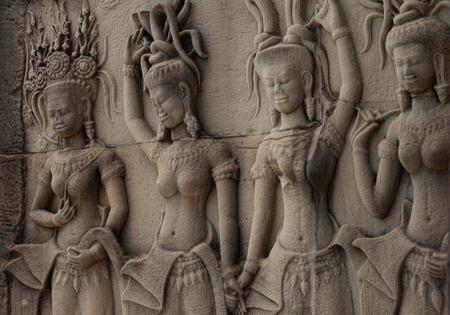 apsara: Beautiful Apsara carvings  at Angkor Wat Siem Reap Cambodia Stock Photo