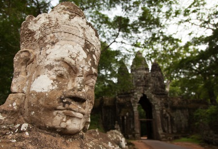 angkor thom: Giant face in Angkor Thom Siem Reap Cambodia Stock Photo