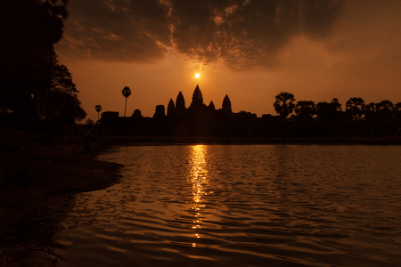 equinox: Beautiful sunrise at Angkor Wat temple  with reflection on pond temple during the equinox