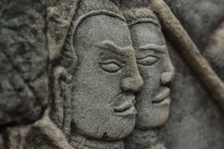 bayon: Closeup of Bayon walls bas-reliefs