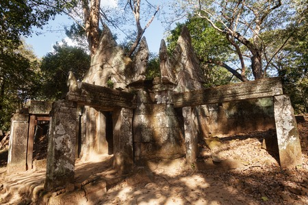 history architecture: Prasat Krachap temple   in the lost city of  Koh ker built during the 10th century
