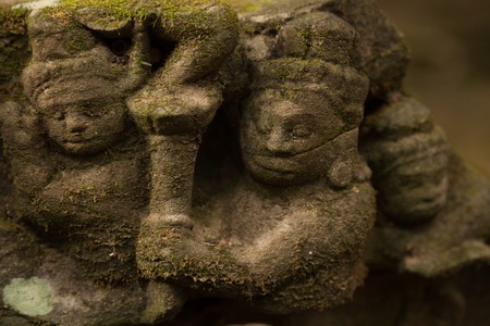 Hidden carvings in a temple in Angkor Cambodia Stock Photo