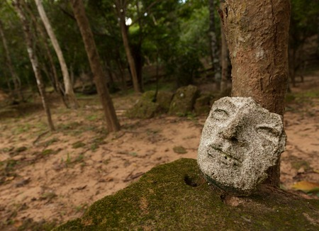 hidden mask in a temple in Angkor with forest Stock Photo