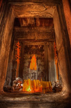 recline: Reclining Buddha statue in Angkor Wat temple