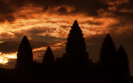 Beautiful sunrise at Angkor Wat temple temple with dramatic sky Stock Photo