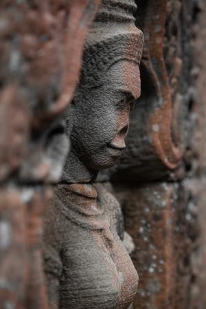 Devata statue in Angkor temple siem reap cambodia