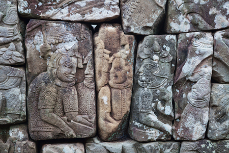 Bayon temple carvings in Angkor Siem Reap Cambodia