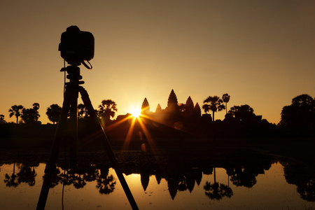 DSLR setup at Angkor Wat temple at sunrise