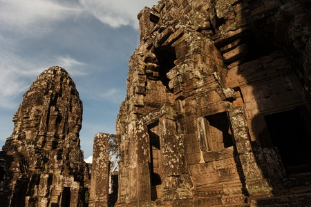 Bayon temple towers in Angkor at sunset