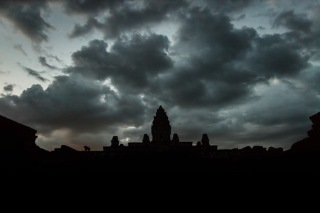 Bakong temple in the evening with dramatic sky Stock Photo