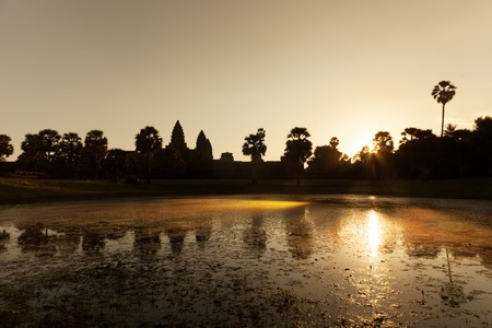 Beautiful sunrise at Angkor Wat temple with reflection Stock Photo