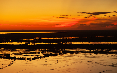Beautiful sunset near siem reap cambodia overlooking tonle sap lake Stock Photo