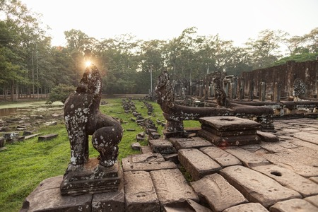 Bayon temple in the evening in Siem Reap Cambodia