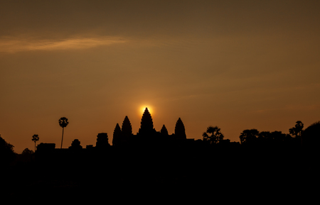 Beautiful sunrise at Angkor Wat temple temple during the spring equinox