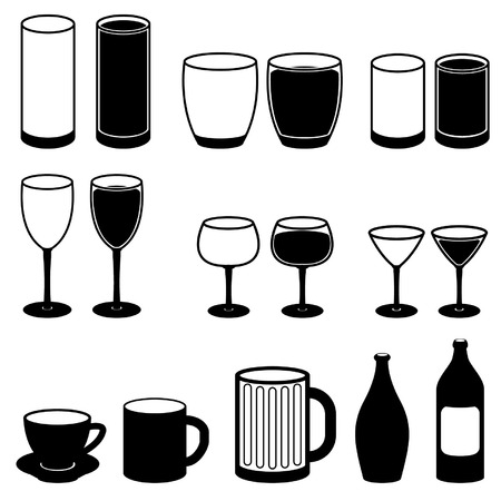 Drink Icons Set Black Vector