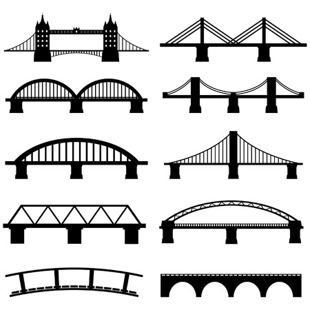 viaduct: Bridge Icons Set Vector