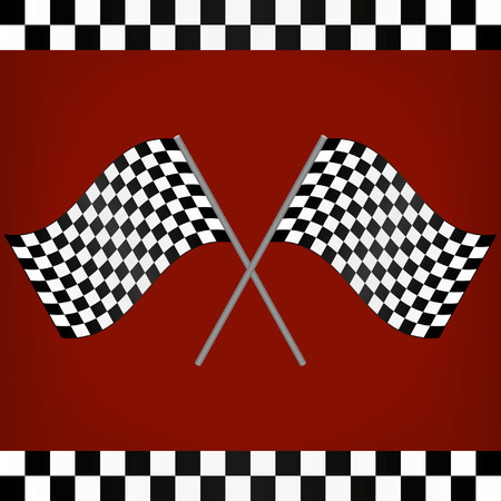 Crossed Racing Checkered Flags Vector