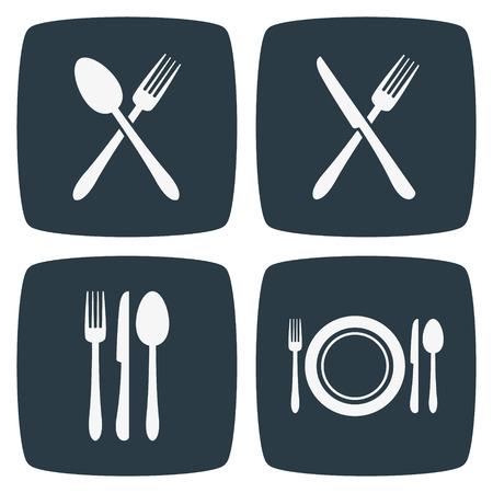 Bestek Restaurant Icons Stock Illustratie