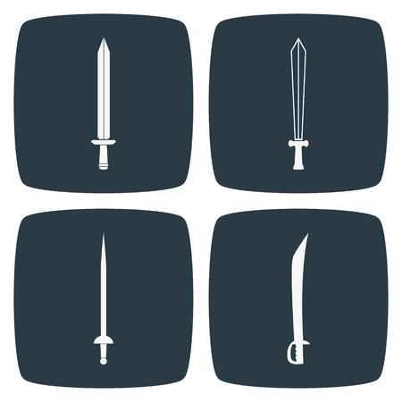 sword silhouette: Sword Icons Illustration