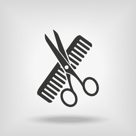 hair cutter: Hairdresser Scissors And Comb Illustration