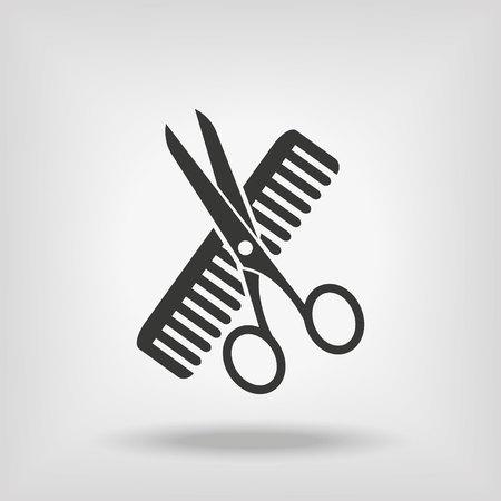 Hairdresser Scissors And Comb Vettoriali