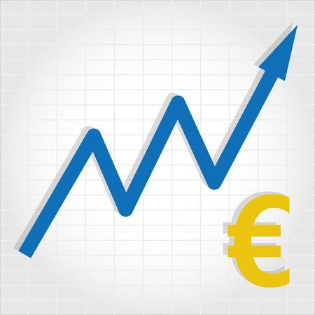 increases: Euro Increase Graph Illustration