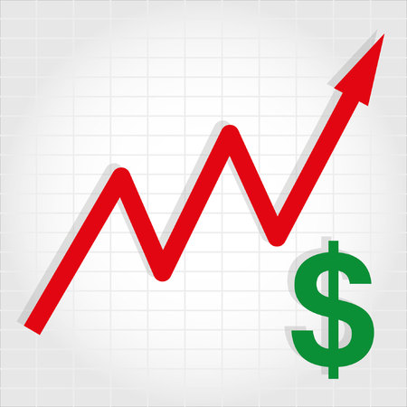 dollar sign icon: Dollar Increase Graph