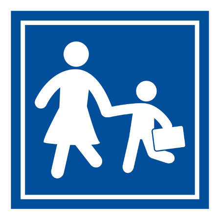 person walking: School Sign