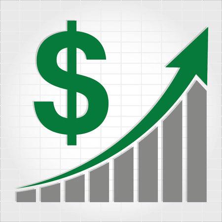 dollaro: Dollaro Aumento Grafico Vettoriali