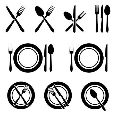 Sztućce Restauracja zestaw ikon Ilustracje wektorowe