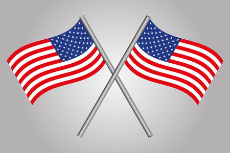 american flags: USA Flag Crossed