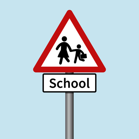 crossing the road: School Road Sign