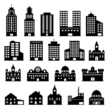 Building icons set Stock Vector - 46612581