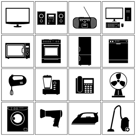television set: House Appliance Icons Set