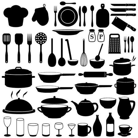 taza de t�: Iconos de cocina cocina del conjunto