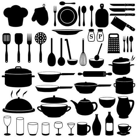 glass bottle: Kitchen Cooking Icons Set Illustration