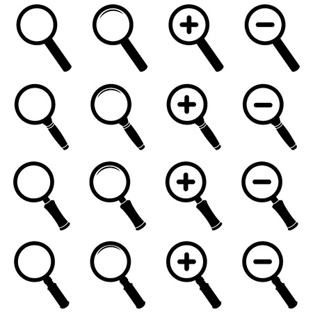 lupa: Magnifier Glass Icons Illustration
