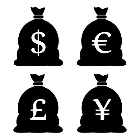 money exchange: Money Bag Icons