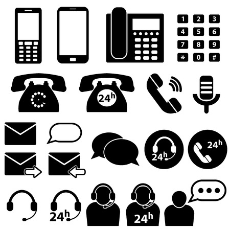 answering phone: Telephone and Communication Icons