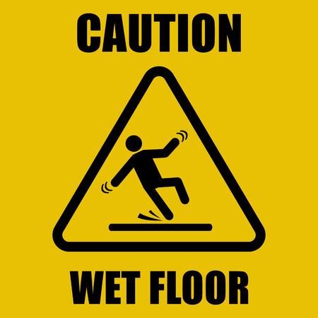 Wet Floor Warning Sign Vectores