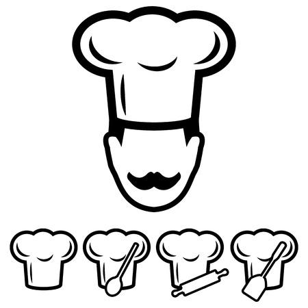 Chef hoed Icons Set Stock Illustratie