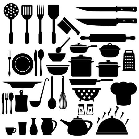 cuchillo de cocina: Cocinar Icons Set Vectores