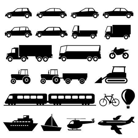 black train: Transportation icons set
