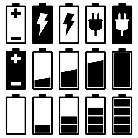 cell charger: Battery Icons Set Illustration