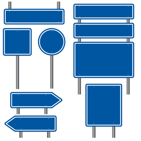 blank road sign: Blank Blue Road Signs Illustration
