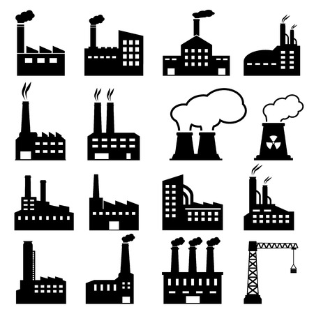 silhouette industrial factory: Factory Icons Illustration